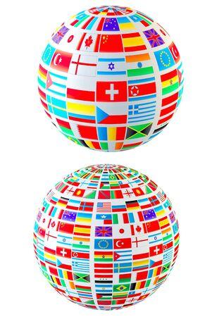 identidad cultural: Esferas de banderas de la serie mundial. Aislado en blanco