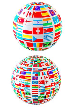 russian culture: Set- world flags spheres. Isolated over white