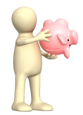 Conceptual image - financial crisis. Puppet with empty piggy bank photo