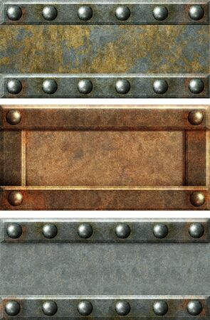 Metallic banners with grey metal and rust texture photo