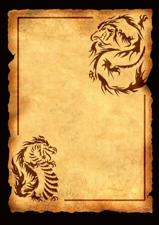 Sheet of ancient parchment with the image of dragons photo