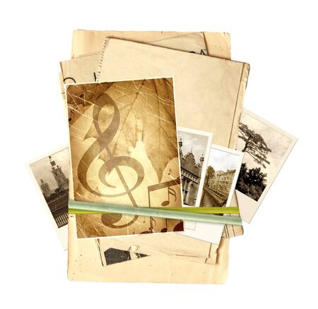 Frame with old paper and photos. Objects isolated over white Stock Photo - 9954451