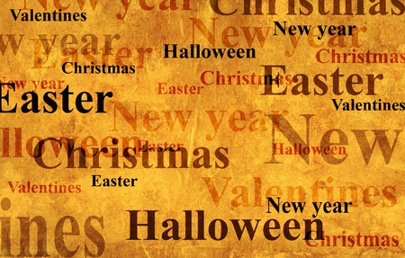 Grunge background with names of the holidays photo