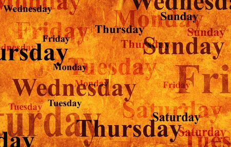 wednesday: Grunge background with names of days of week Stock Photo
