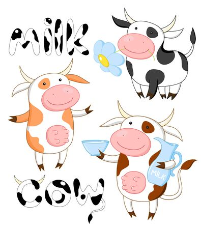 Collection of three funny cows. Isolated over white