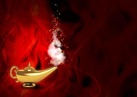 Symbol performance of desires - magic lamp Stock Photo