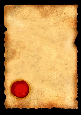 Old parchment with wax seal. Isolated over black Stock Photo - 10064168
