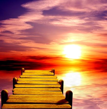 életmód: Fantasy gyönyörű naplemente és a fából készült móló Stock fotó