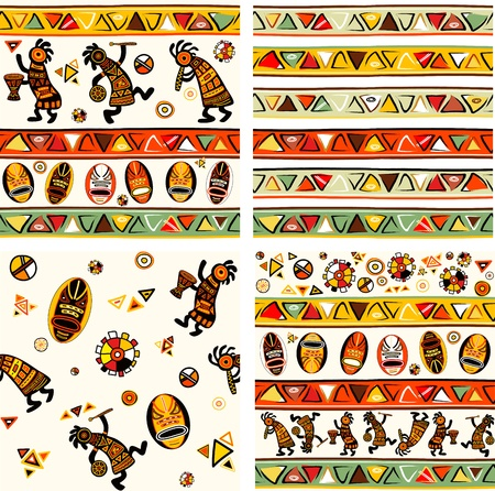 Collection of vector seamless background with african traditional patterns Vector