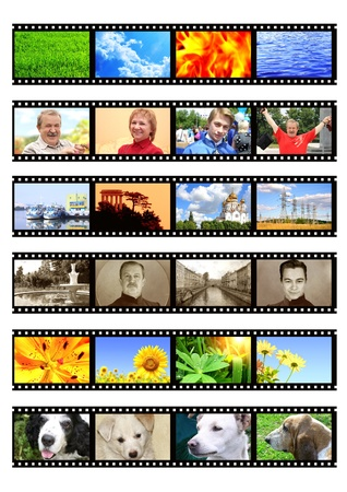 holiday movies: Memories. Collection retro and modern photos with filmstrip. Objects isolated over white