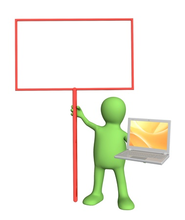 3d puppet with information board and laptop. Isolated over white Stock Photo - 10064171