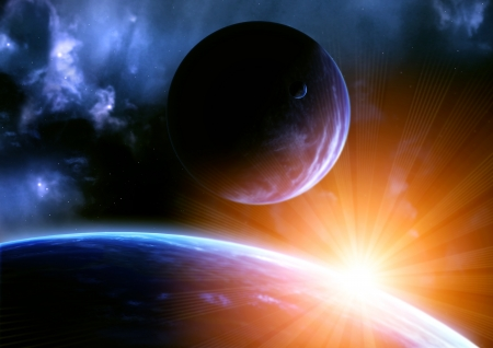 future space: Space flare. A beautiful space scene with planets and nebula