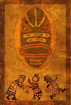 ilustraciones africanas: Baile de músico. Fondo con patrones tradicionales africanos Foto de archivo