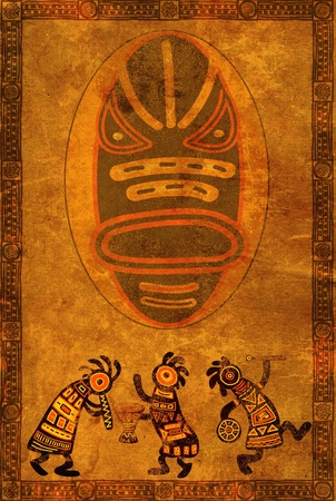 african art: Dancing musician. Background with African traditional patterns