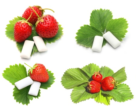 chewing: Strawberry and bubblegum. Isolated over white