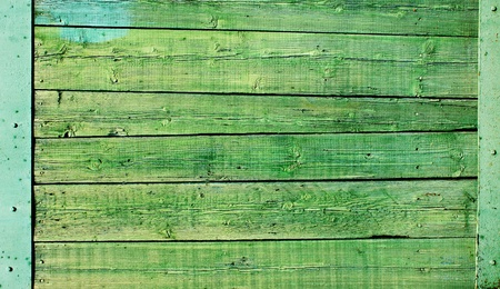 Texture - cracked paint of green color on a wooden surface photo