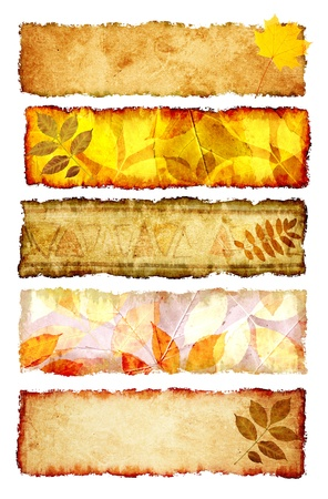 Collection of grunge banners with autumn leaves photo