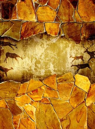pintura rupestre: Fondo grunge con dibujos de la persona primitiva Foto de archivo