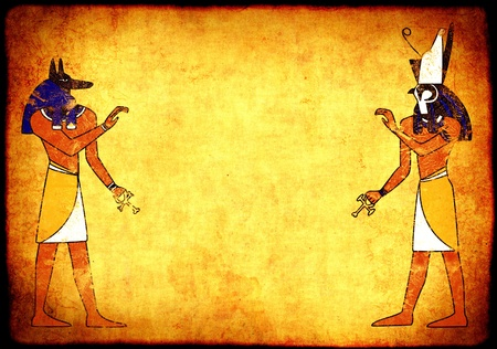 egypt anubis: Background with Egyptian gods images - Anubis and Horus Stock Photo