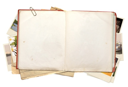blank note book: Old book and photos. Objects isolated over white