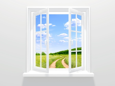 Open window and old road Stock Photo - 10367734