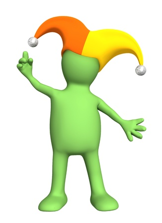 dunce cap: 3d puppet - joker, in a hat with bells. Isolated over white Stock Photo