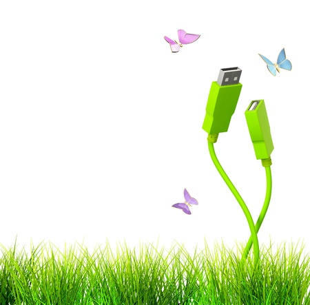 usb cable: Conceptual image - green technology. 3d Stock Photo