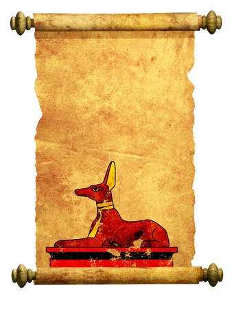 Scroll with Egyptian god Anubis image. Object over white photo