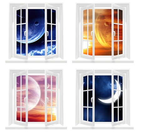 open windows: Collection of space windows. Isolated over white