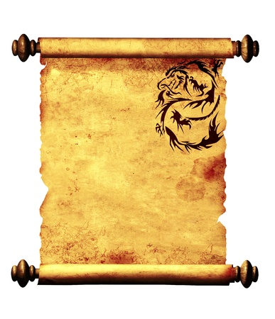 dragon vertical: Ancient parchment with the image of dragons. Object isolated over white