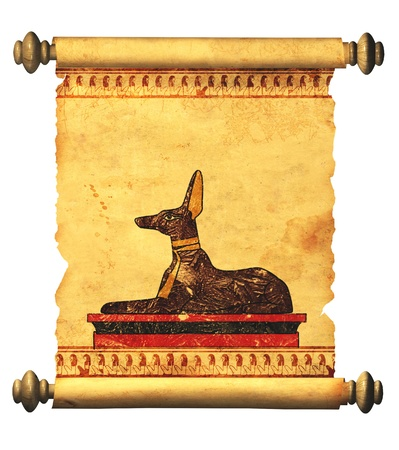 egypt anubis: Scroll with Egyptian god Anubis image. Object over white