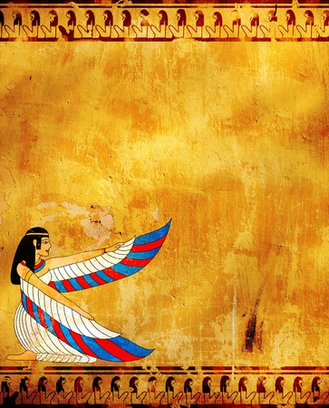 egyptian mummy: Wall with Egyptian goddess image - Isis Stock Photo