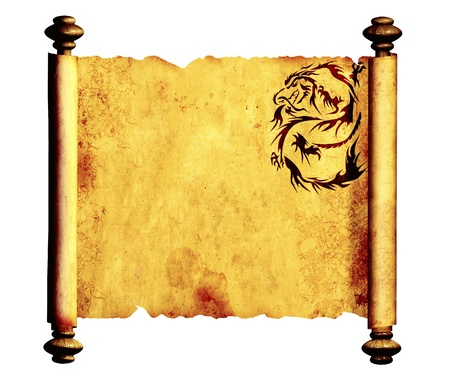 japanese dragon: Ancient parchment with the image of dragons. Object isolated over white