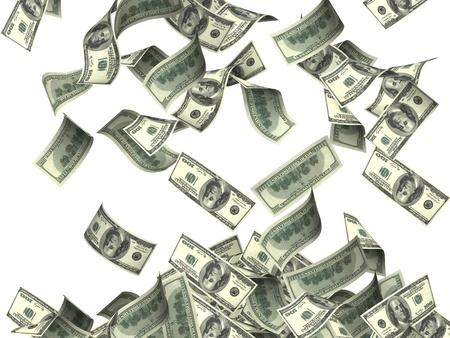 money flying: Volando billetes de dólar. Aislado en blanco Foto de archivo
