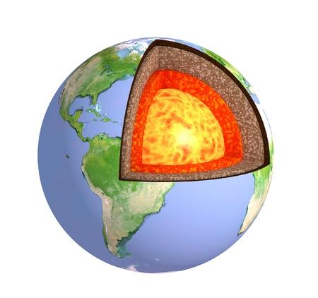 n�cleo: Estructura de la tierra. Modelo aislado en blanco Foto de archivo