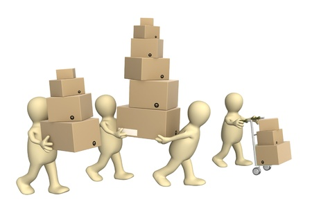 loading: Four puppets with boxes. Isolated over white Stock Photo