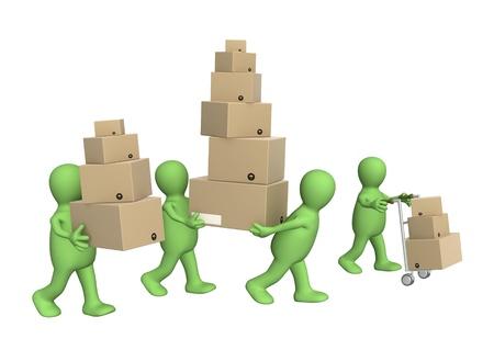 marioneta: Cuatro muñecos con las cajas. Aislado más de blanco Foto de archivo