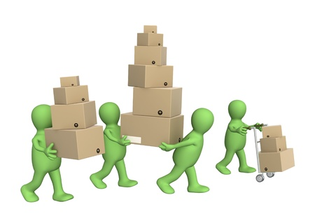 man carrying box: Four puppets with boxes. Isolated over white Stock Photo