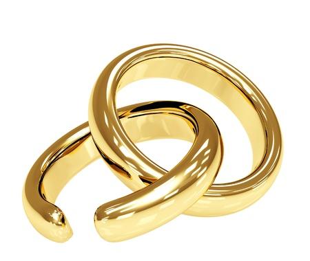 broken contract: Symbol of divorce - broken wedding ring. Isolated over white Stock Photo