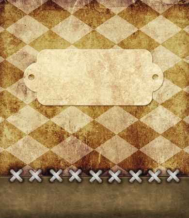Leather grunge background with label for scrapbooking photo