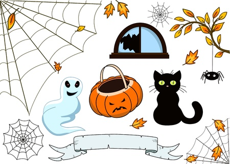 Halloween collection - objects isolated over white Vector