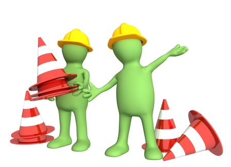 Two 3d puppets with emergency cones. Isolated over white Stock Photo - 10515210