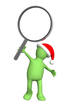 loupe: 3d puppet in christmas hat with loupe. Isolated over white