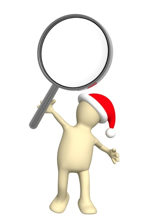 helper: 3d puppet in christmas hat with loupe. Isolated over white