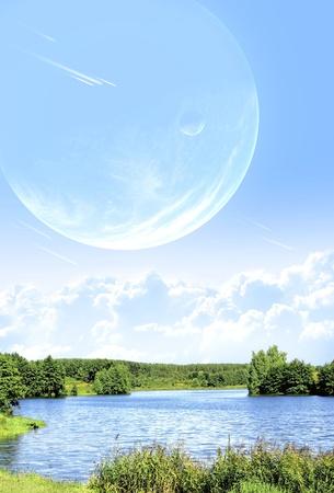 Landscape in fantasy planet photo