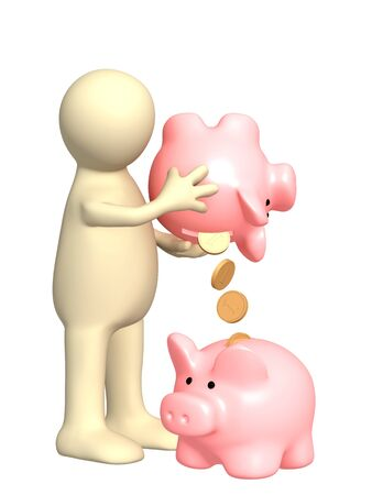 transfering: Puppet with piggy bank. Isolated over white