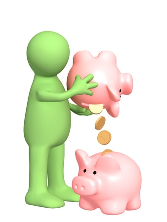 bankroll: Puppet with piggy bank. Isolated over white