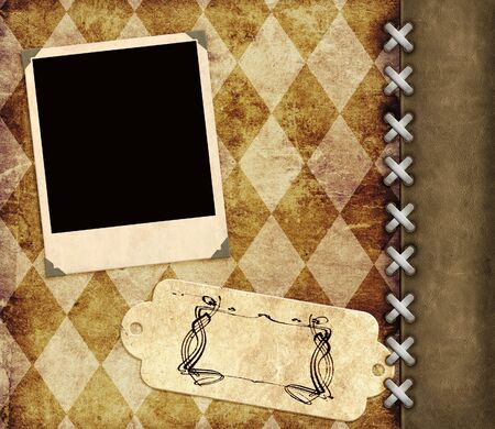 Leather grunge background with label and photo for scrapbooking