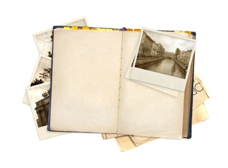 note book: Old book and photos. Objects isolated over white