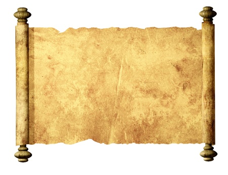 medieval scroll: Old parchment. Isolated over white Stock Photo